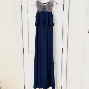 NWT BCBGMaxAzria Cascading Blue Maxi Dress